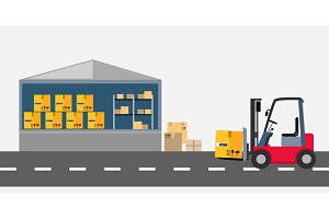 Warehouse and Stackers Flat Design