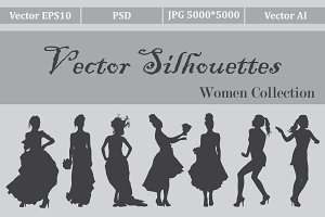 Set of female silhouettes