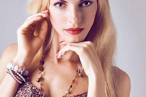 Hippie boho woman sensually looks
