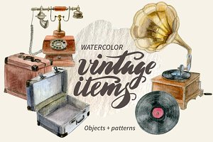 Watercolor vintage items set