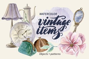 Watercolor vintage items