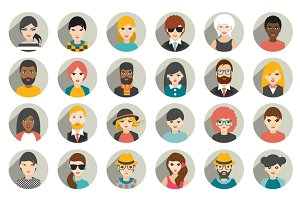 Big set of people avatars profiles.