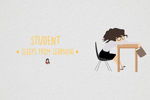Student sleeps from learning