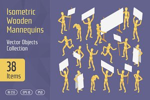 Isometric Wooden Mannequins