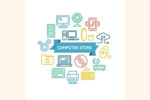 Computer Store Concept. Vector
