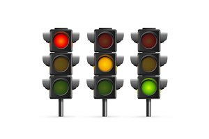Traffic Light Set Sequence. Vector