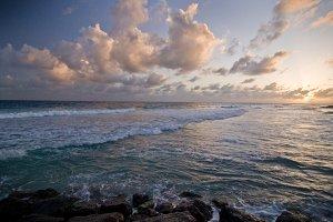Barbados Waves at Sunset