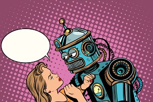 Robot woman love computer technology