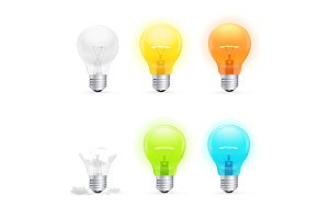 Colorful Light Bulbs Set. Vector