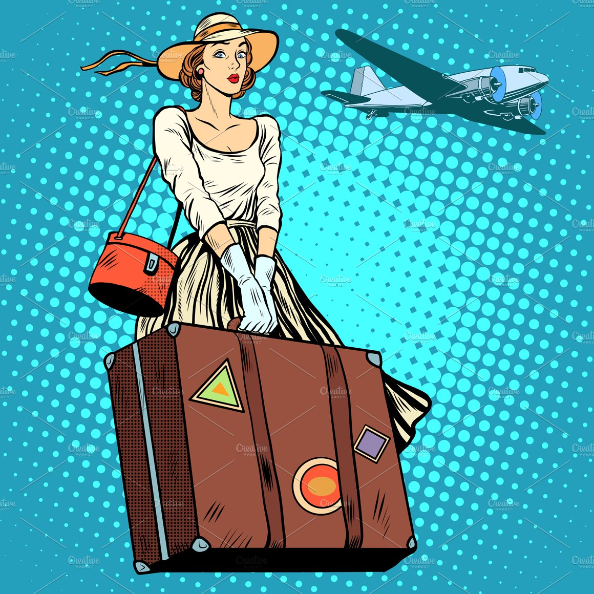 Girl Travel Suitcase Airport Illustrations Creative Market