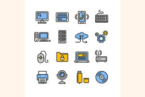 Computer Technology Outline Icon Set