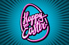 """Hand lettering """"Happy Easter"""""""