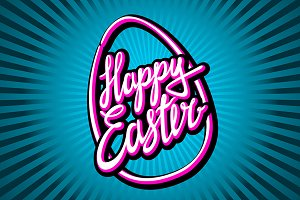 "Hand lettering ""Happy Easter"""