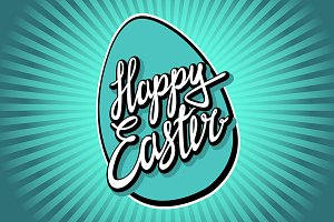 "Hand lettering ""Happy Easter vintage"