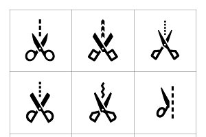 Set icons of scissors with cut line