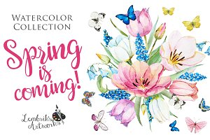 Spring is coming! Gentle watercolors