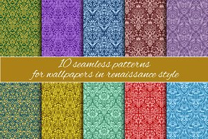 Renaissance seamless patterns set