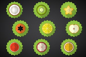 9 Fruit Icon Vector Set
