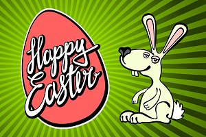 happy easter lettering bunny rays