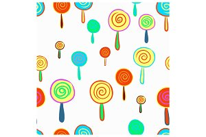 Seamless hand drawn of lollipop patt