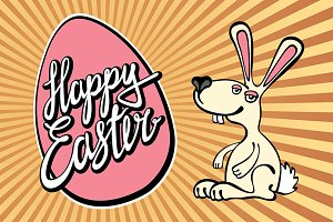 rays Bunny, lettering Happy easter