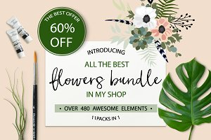 60%OFF• Flowers Bundle 480+ elements