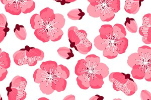 Japanese sakura seamless patterns.