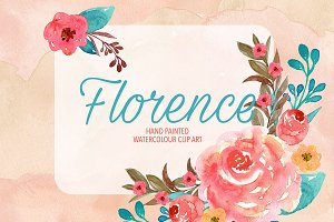 "Watercolor ""Florence"" clip art/paper"