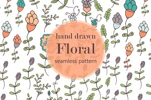 Hand drawn flower seamless pattern