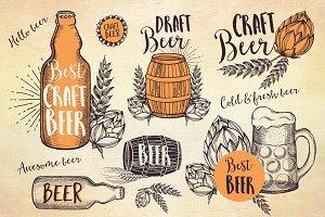 Beer doodle elements