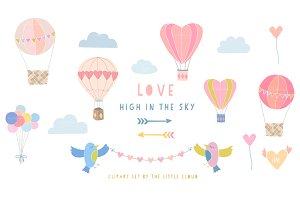 Love in the sky wedding clip art set
