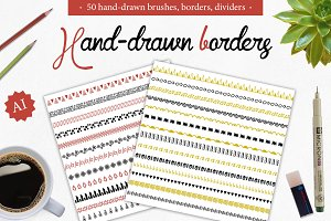 50 Borders, dividers, frames,brushes