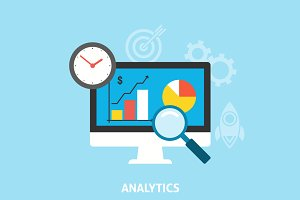 Analytics Icons Flat
