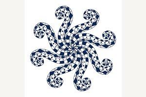 Rosette ornament.