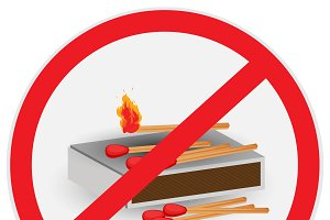 No, fire, allowed, matches, symbol