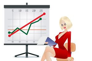 Business, woman, business, graph
