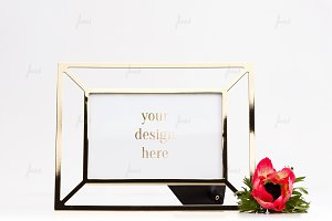 Frame mockup with red flower