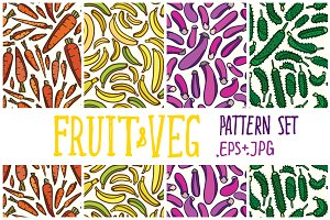 Fruit & vegetable pattern set