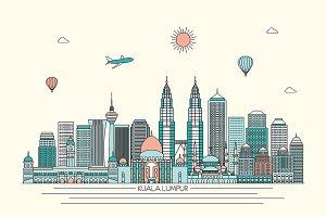 Kuala Lumpur line art skyline