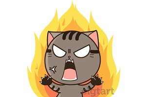 Angry Den the cat sticker