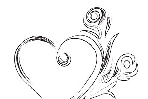 sketch heart, ornament