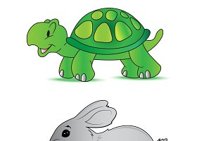 rabbit, turtle, vector