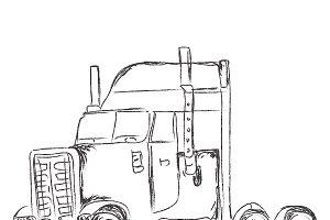 truck, sketch, vector
