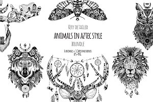 Textured animals in aztec style