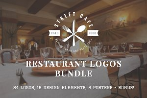 Set of vintage restaurant logos