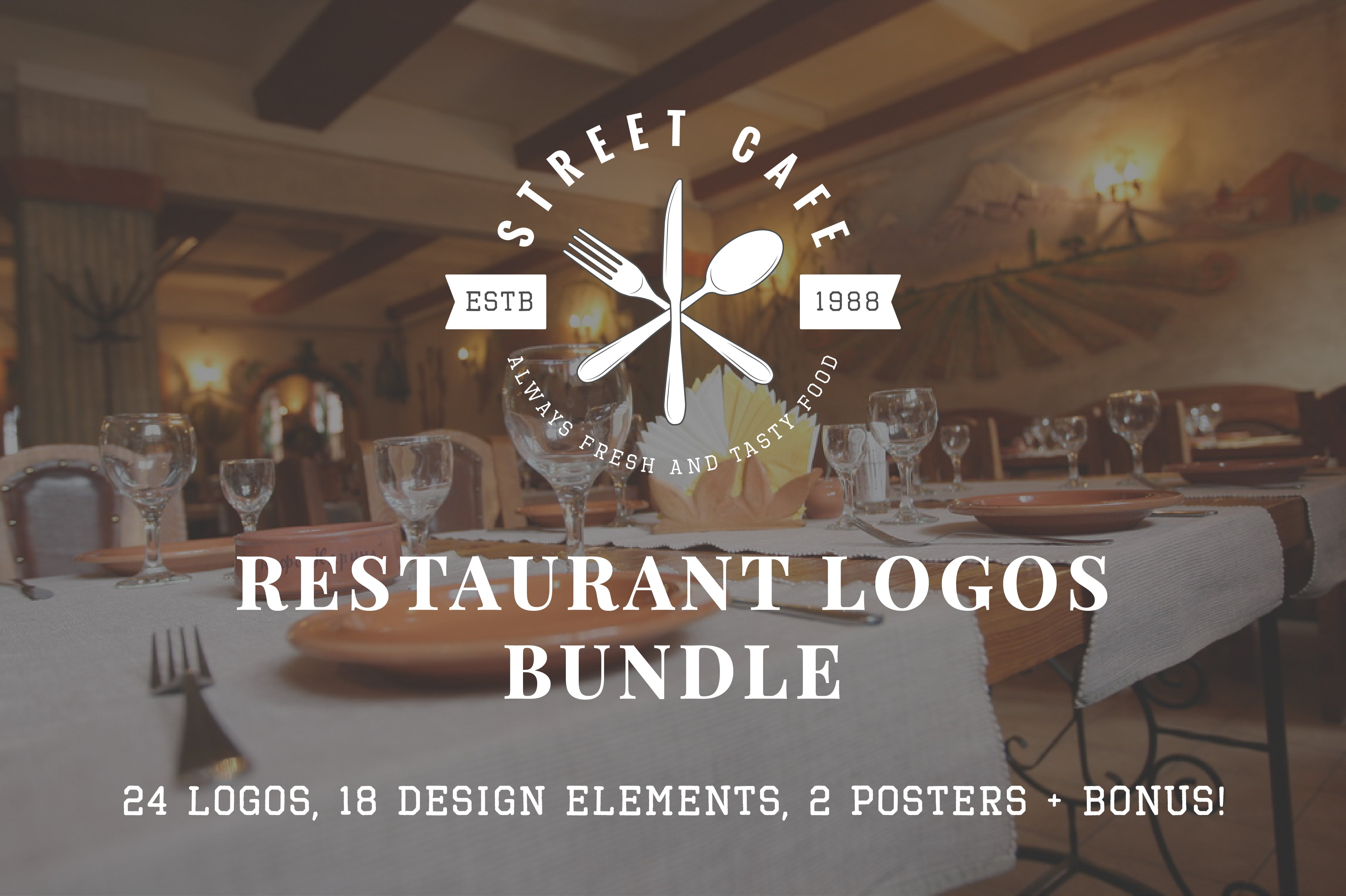 Set of vintage restaurant logos logo templates creative market buycottarizona Image collections