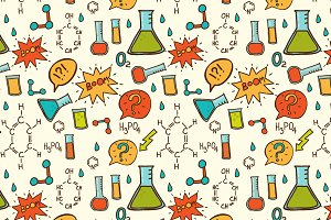 Vector cartoon chemistry pattern.