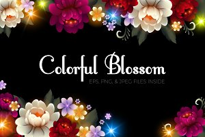Colorful Flower Set. Vector & Raster