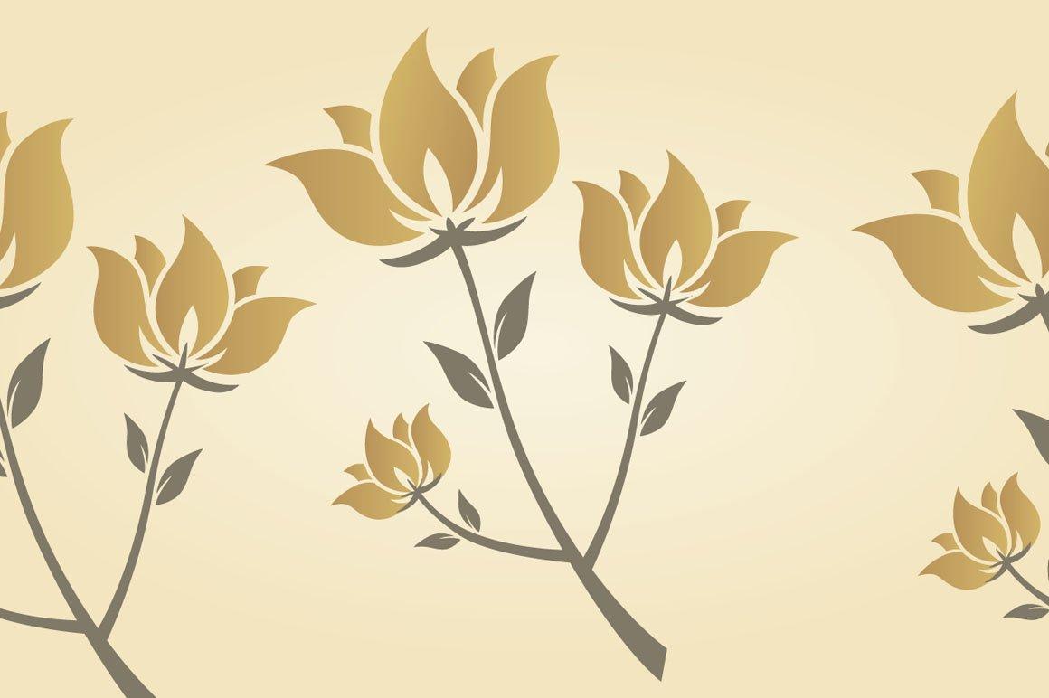 Golden Flower Graphic Patterns Creative Market