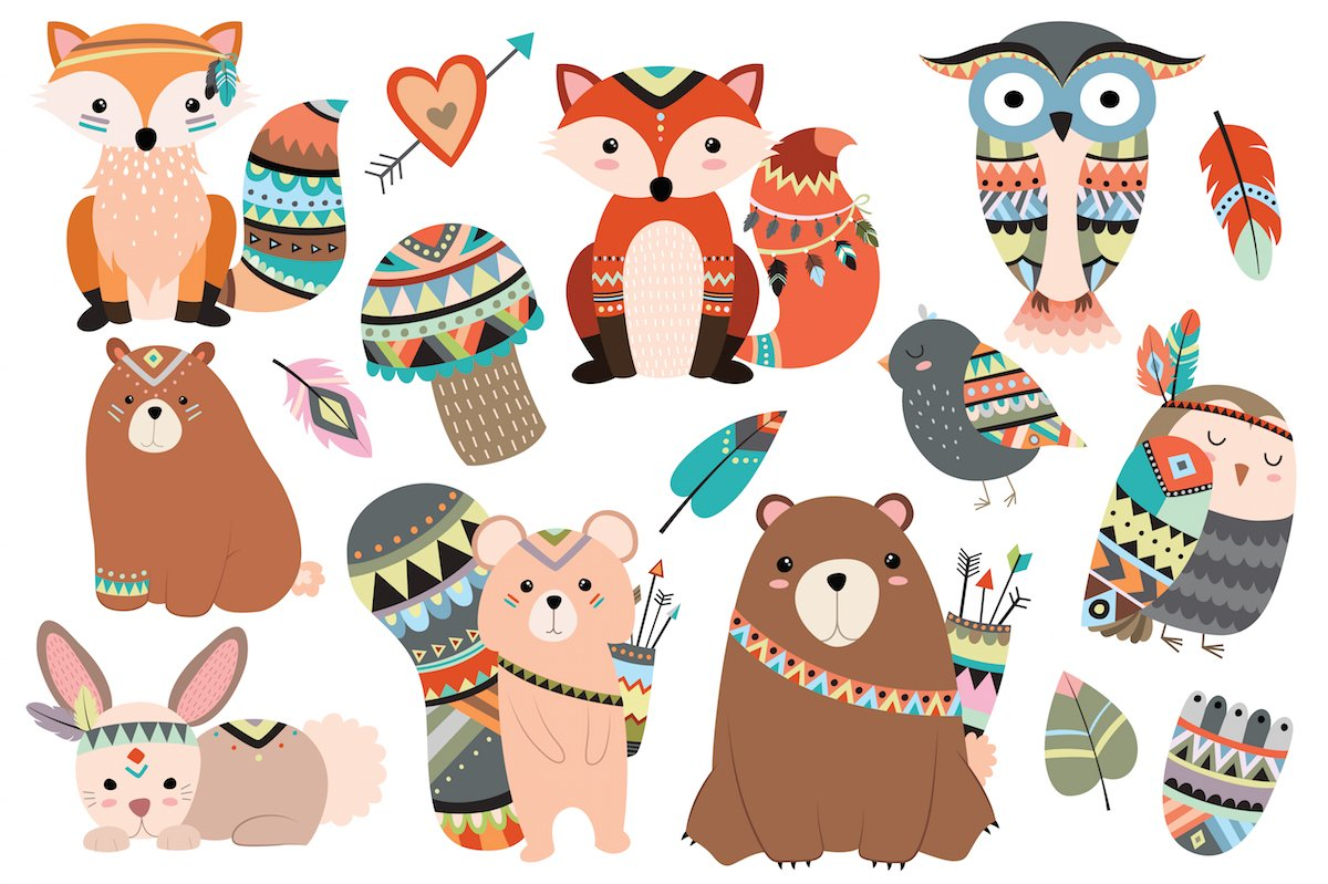 The Art Of Animal Character Design Pdf Free Download : Woodland tribal animals vector png illustrations
